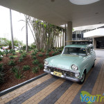 The 'old school' Holden parked in the driveway at QT Gold Coast Hotel and Resort.