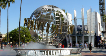 The famed Universal Studios globe at the entrance to the theme park.