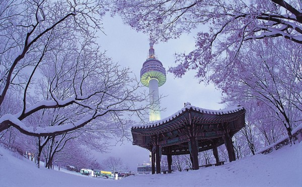 Snow Scene at Seoul Tower