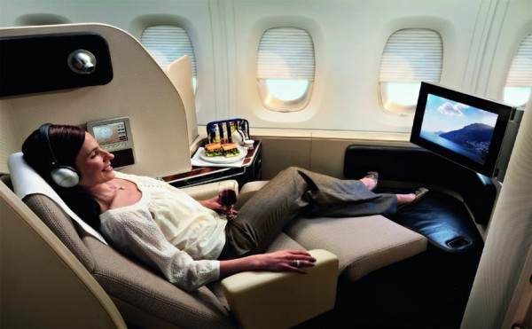 Inside a Qantas flight