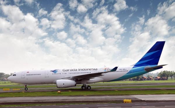 A Garuda Indonesia flight touching down