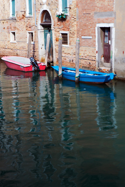 Getting around on the water is done by boat in Venice, Italy.