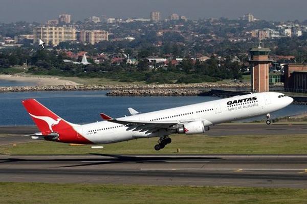 A Qantas flight taking off