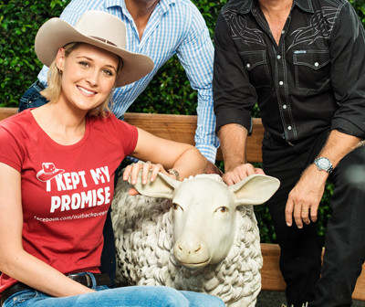 TV personality Kimberley Busteed, rugby league legend Steve Renouf, country music star Troy Cassar-Daley and a woolly friend at the launch