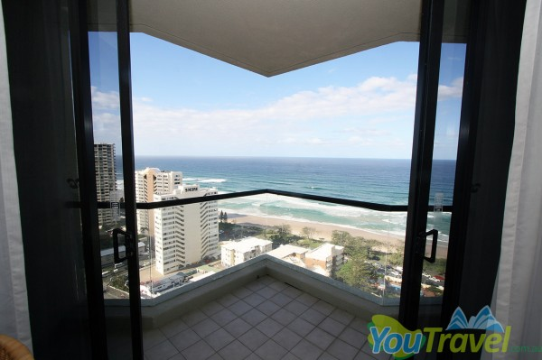 Check out the incredible view from the 20th floor at the QT Gold Coast Hotel and Resort.
