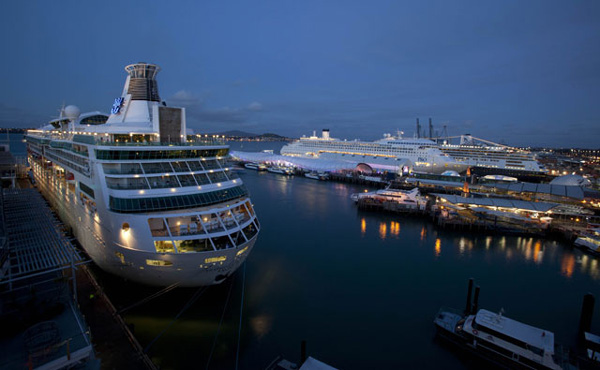 Cruise Ships Lit Up On The Evening Of The RWC 2011