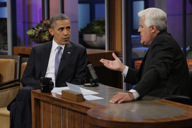 U-S President Barack Obama appearing on late night talk show, Jay Leno to discuss Yemen threat