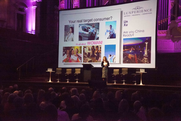 Lin Xu, China Luxury Travel Network's founder, addressing Luxperience