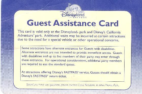 Disney's Guest Assistance Card for disabled park-goers