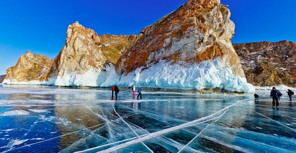 The frozen Lake Baikal