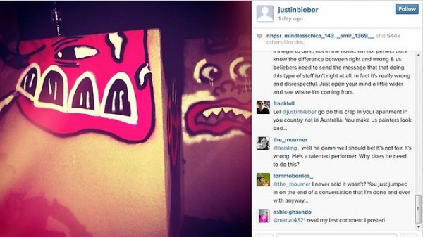 Justin Bieber vandalises the QT Gold Coast Hotel tennis court in the name of 'art'.