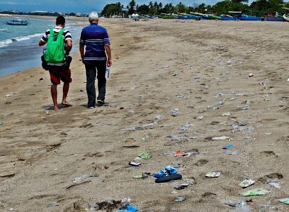 Trash walking on Kuta Beach