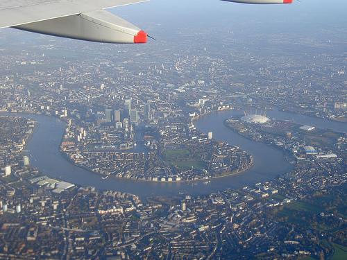 Central London, approach into Heathrow