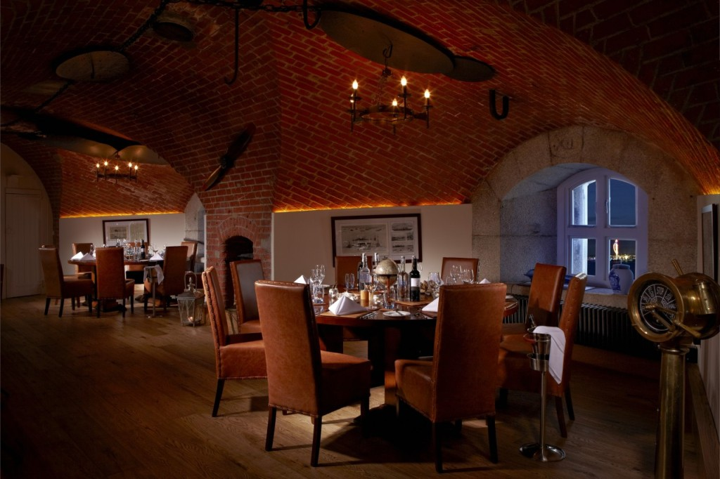 Catering for guests in nine rooms, Spitbank Fort features a sauna and pool to keep guests busy.