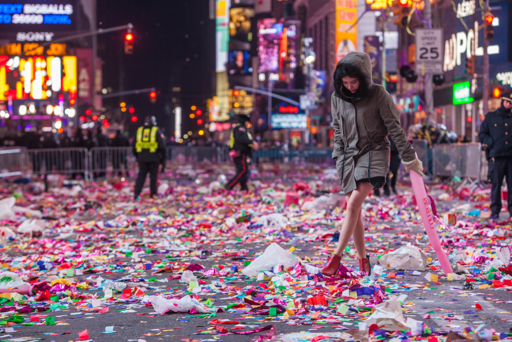 New Year's Eve Aftermath in Times Square, NYC