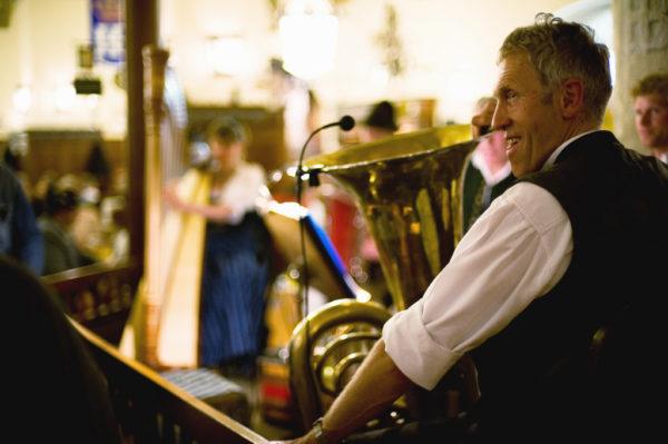 Musician pausing between songs at the Hofbräuhaus, Munich