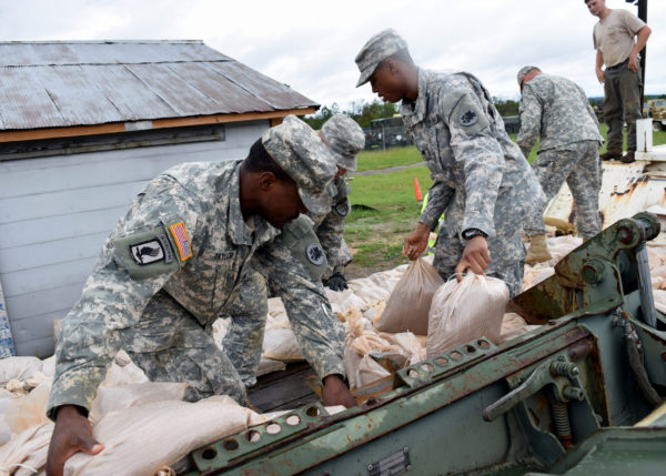 The Georgia National Guard loads sandbags in anticipation of possible flooding from Hurricane Joaquin